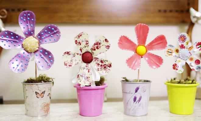 Aprenda como fazer flores de pl stico reciclado for Plantas de plastico para decoracion
