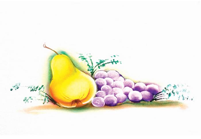 Pera com uvas (pintura em tecido)