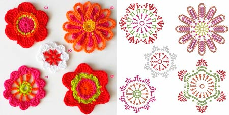 Gráfico 5 flores de Crochê