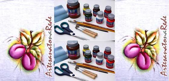 9ª Aula de Pintura em Tecido:ameixas