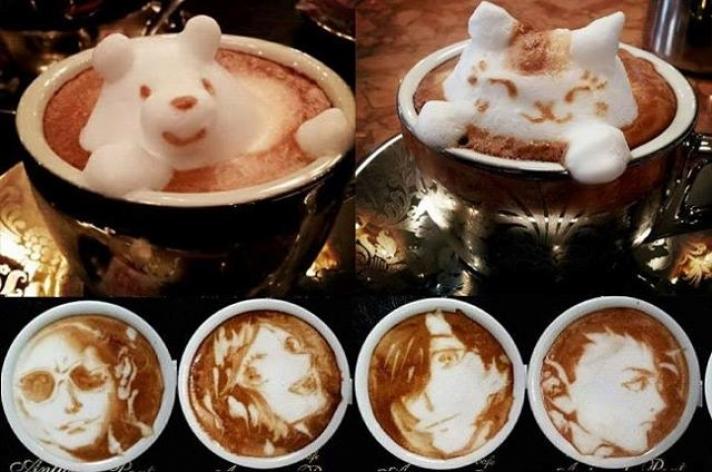 Arte 3D em espuma de café