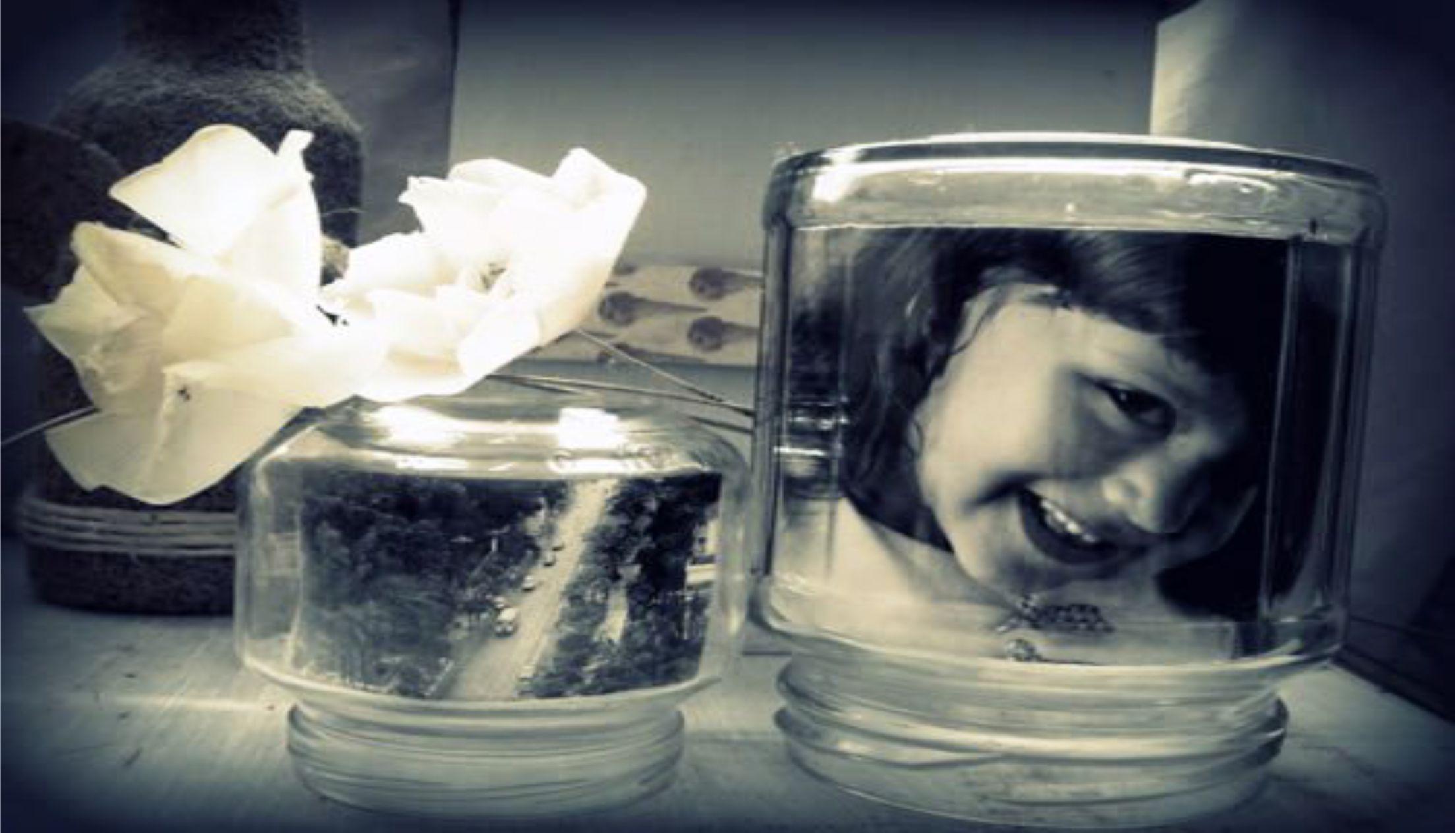 Porta-retrato de vidros usados .Incríveis!