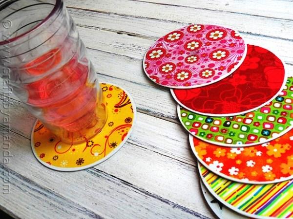 Porta-copos feitos com CD