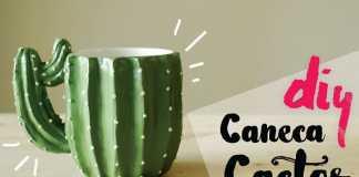 Caneca decorada de cacto com cappuccino caseiro dentro