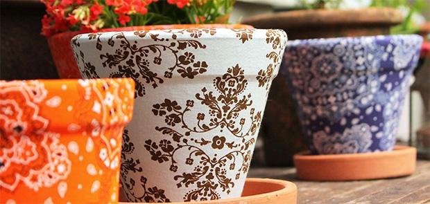 Vasos decorados com tecidos