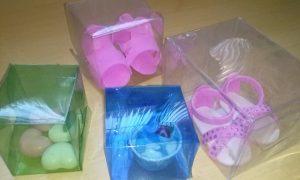 Caixas para lembrancinhas feitas com garrafa pet