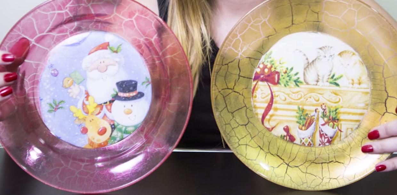 Artesanato para o Natal  – Pratos Craquelados e Decorados para Serem Usados