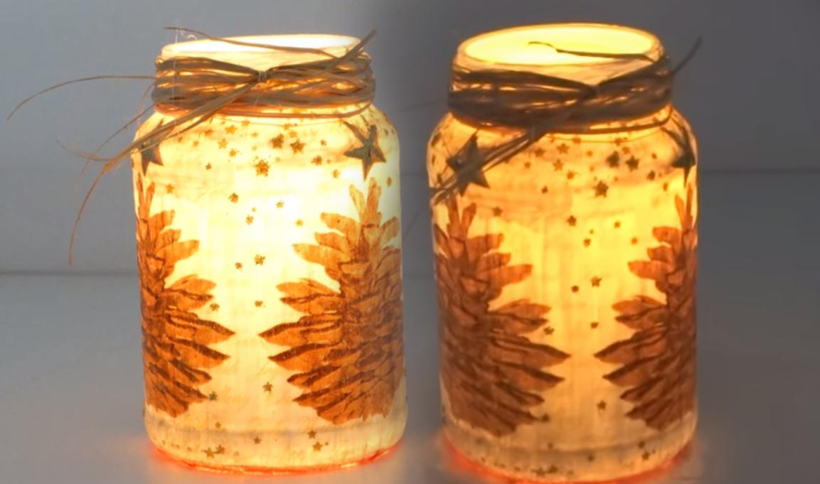 Aparador Zara Home ~ Porta Velas de Natal Feito com Pote de Conserva Artesanato na Rede