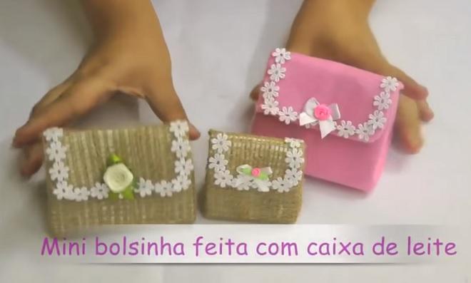 Lembrancinhas de Caixa de Leite – Mini Bolsa