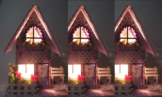 Casinha Luminária de Caixa de Leite