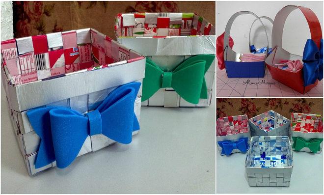 Reciclagem – Veja um passo a passo de Cestinha com caixa de leite