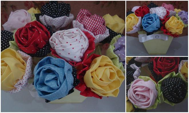 Que tal relaxar e deixar tudo bonito fazendo essas Rosas de tecido?