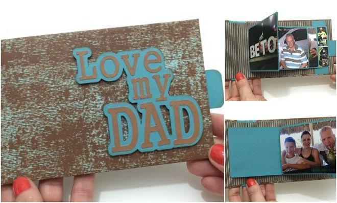 Cartão Cascata para o Dia dos Pais com a técnica de scrapbook