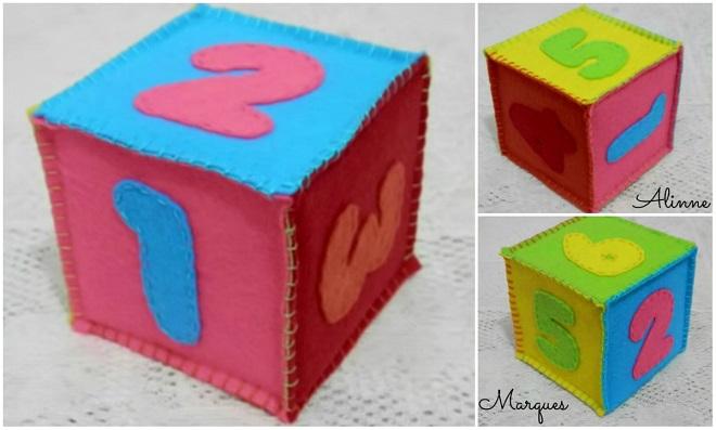 Cubos decorativos feito com caixa de leite e feltro