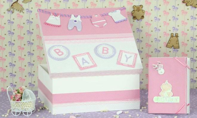 Recordações! Caixa bebê decorada apenas com tecido