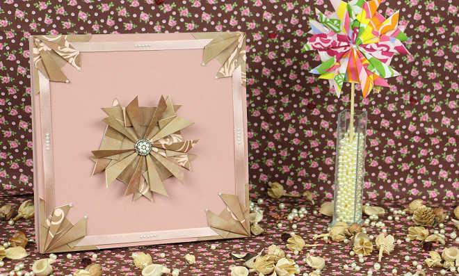 Linda caixa MDF decorada com papel de scrap modelo flor modular