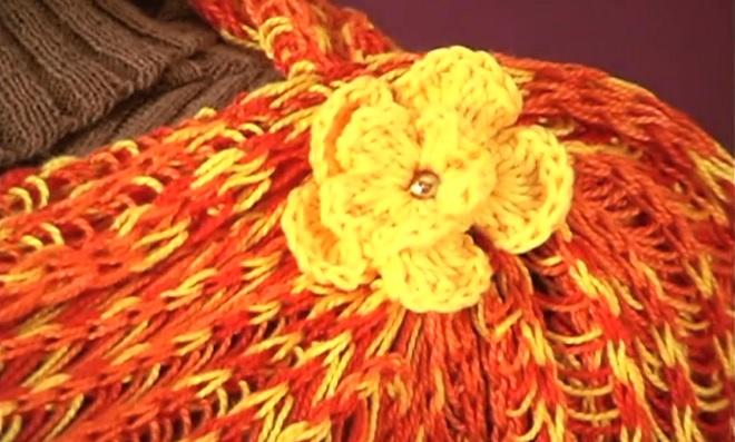 Prática flor de crochê para iniciantes usando a técnica Tear Tricô