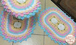 Jogo de banheiro em crochê - Kit Algodão doce - Destaque