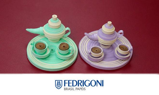 Quilling 3D: Aprenda como fazer um conjunto de xícaras e bule