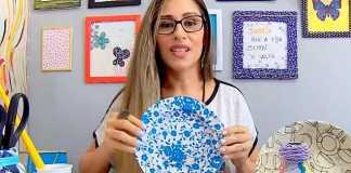 Aprenda como fazer decoupage com tecido em prato