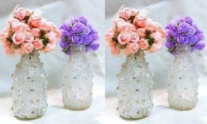 Decoração e lembrancinhas: Garrafas decoradas com strass
