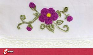 Linda toalha de lavabo florida com Ponto Russo