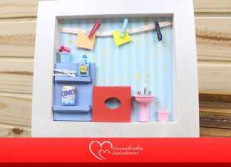 Fofo e divertido! Lindo quadro decorativo com miniatura