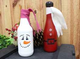 Decoração e reciclagem de garrafa de vidro com temática natalina