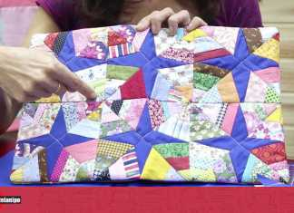 Capa de caderno com patchwork no formato teia de aranha