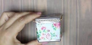 Caixinha de acrílico decorada com fita tema floral - Destaque