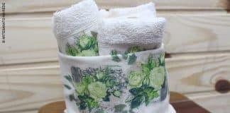 Decoupage em cachepot para toalha de lavabo usando apenas cola - Destaque