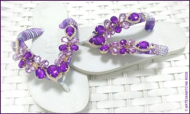 Customização de chinelos com bridão de argola - Tema Ametista - Detalhe 2