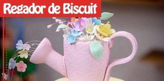 Regador de biscuit e isopor para decoração de festa - Destaque