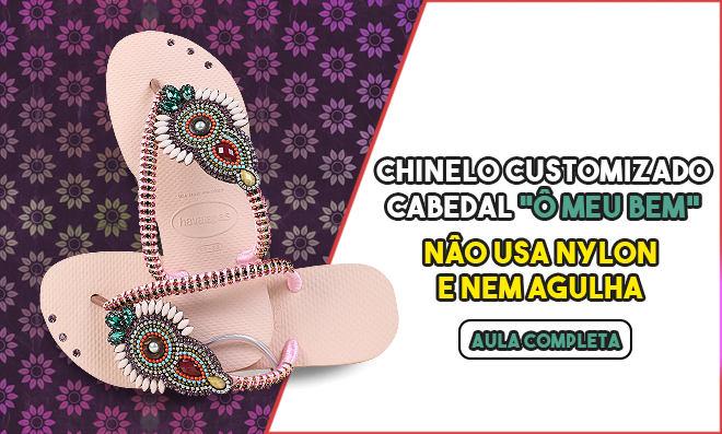 Aplicação de cabedal e customização de chinelos - Strass e Fio de Seda - Destaque