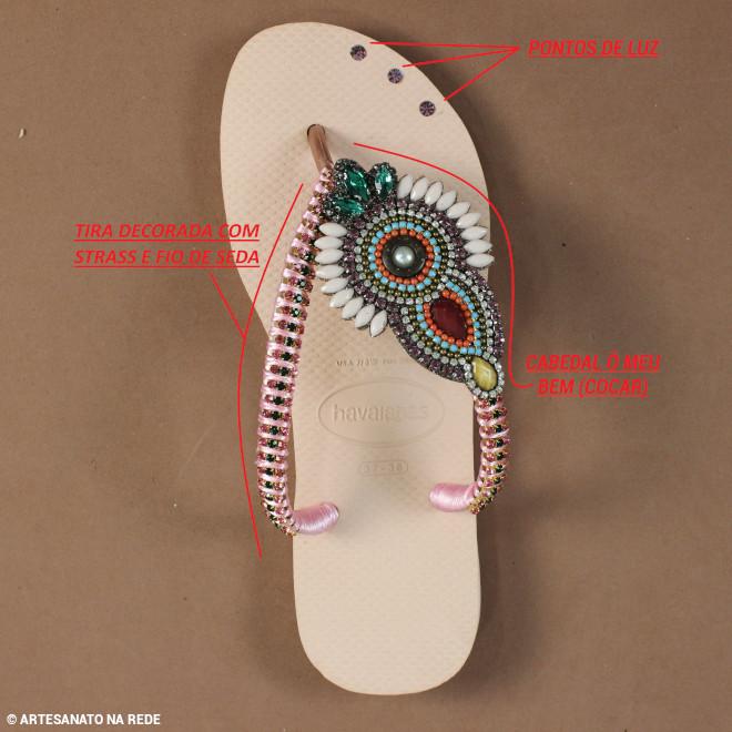 Aplicação de cabedal e customização de chinelos - Strass e Fio de Seda - Divisão do chinelo customizado