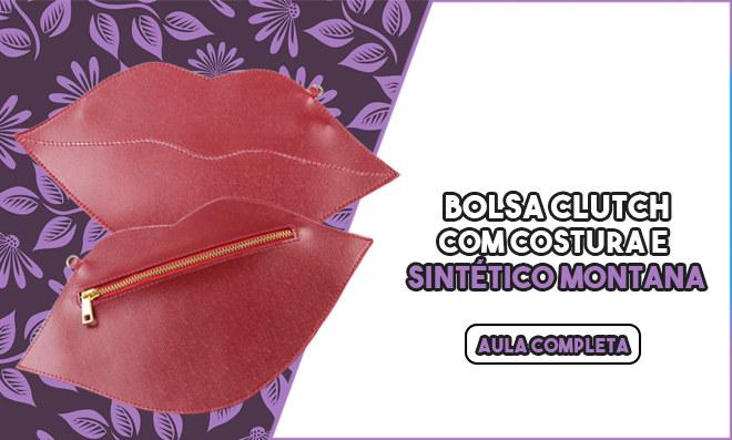 Bolsa clutch em couro sintético - Beijo vermelho