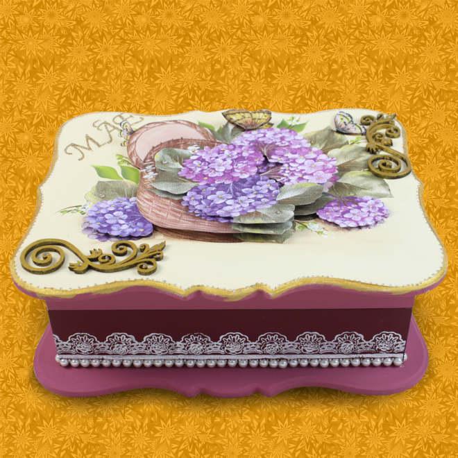 Caixa decorada com relevo 3D e guardanapo - Tema Hortênsia - Detalhe 1