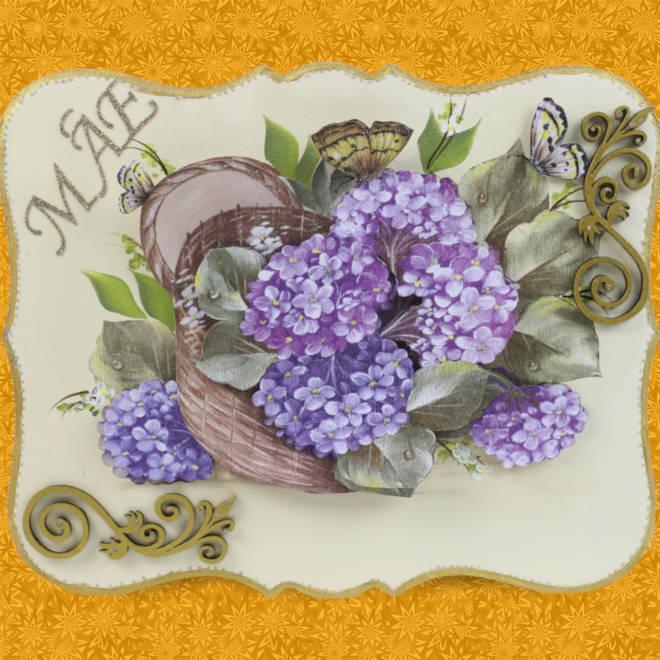 Caixa decorada com relevo 3D e guardanapo - Tema Hortênsia - Detalhe 2