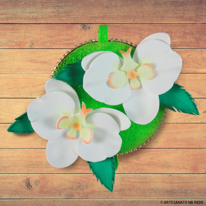 Porta pano de prato com CD e EVA - Orquídeas floridas! -Detalhe