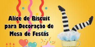 Alice de biscuit para decoração de mesa de festas - Destaque