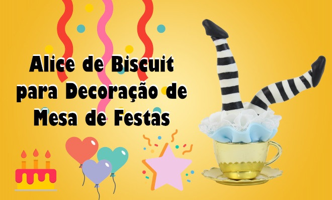 Alice de biscuit para decoração de mesa de festas