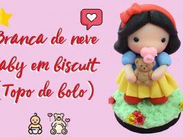 Branca de neve baby em biscuit - Topo de bolo - Destaque
