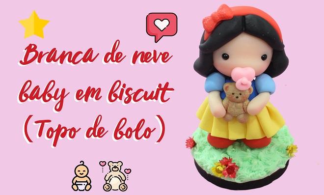Branca de neve baby em biscuit - Topo de bolo
