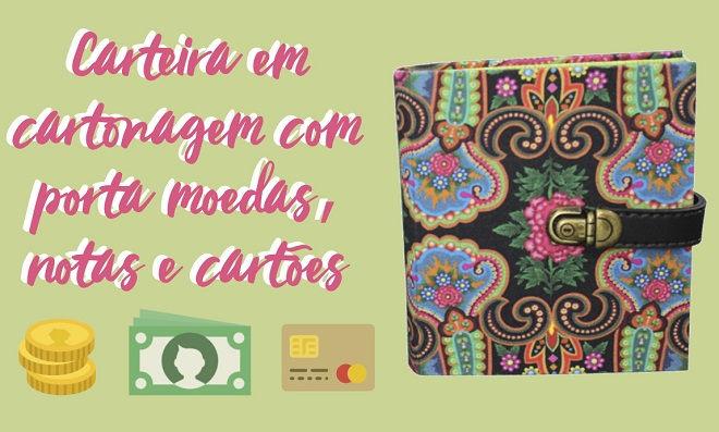 Carteira em cartonagem com porta moedas, notas e cartões