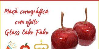 Maçã cenográfica com efeito Glass Cake Fake - Destaque