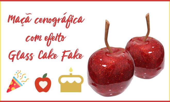 Maçã cenográfica com efeito Glass Cake Fake
