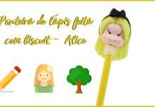 Ponteira de lápis feita com biscuit - Alice - Destaque