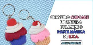 Chaveiro cupcake e ponteira de lápis com massa de EVA