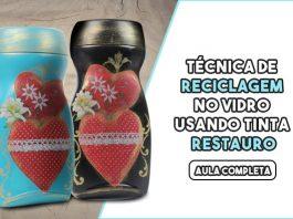Pote de vidro reciclado com pintura - Tinta Restauro - Destaque