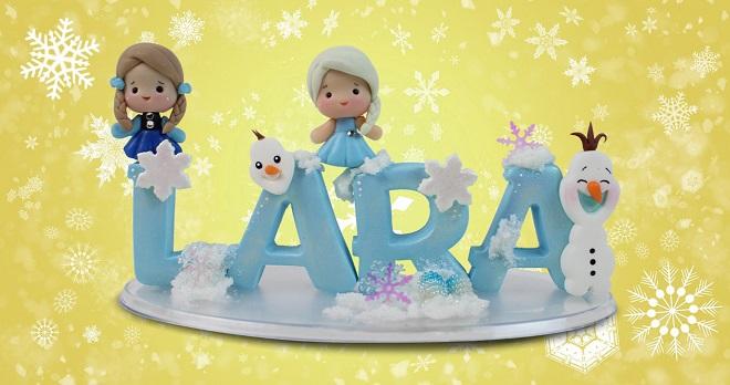 Topo de bolo em biscuit com personagens do filme Frozen - Detalhe